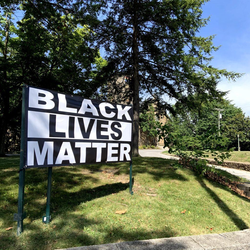 Black Lives Matter sign at Govans Presbyterian Church