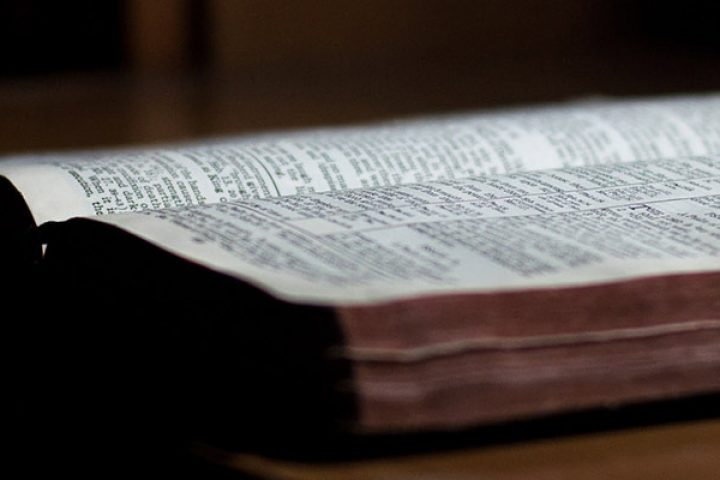 Bible laying on table for sermons
