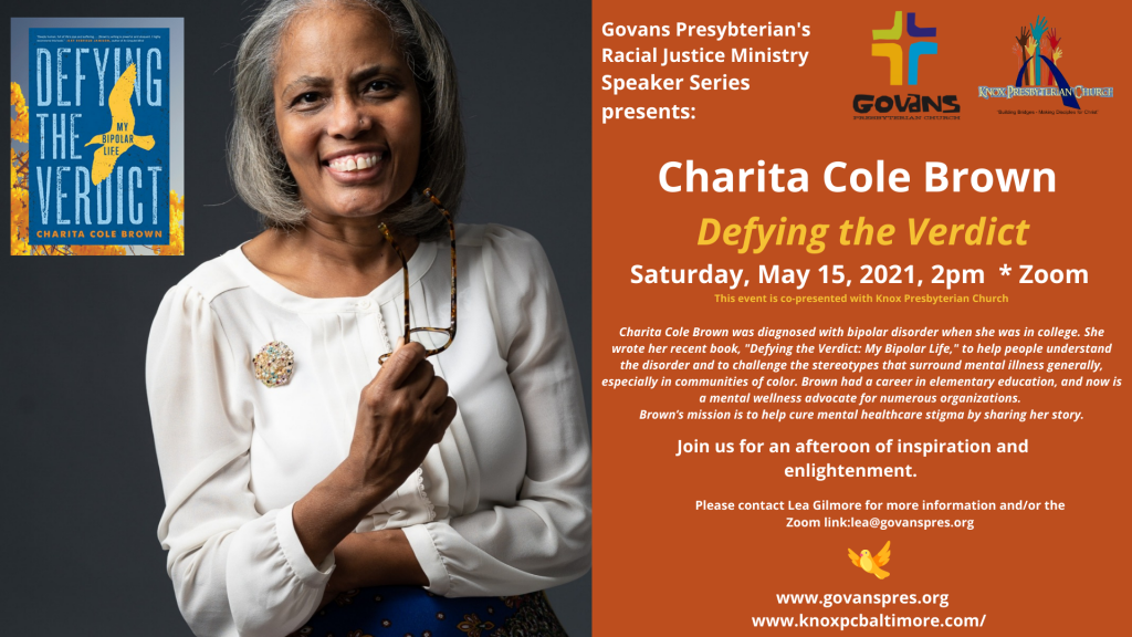 """Charita Cole Brown was diagnosed with bipolar disorder when she was in college. She wrote her recent book, """"Defying the Verdict: My Bipolar Life,"""" to help people understand the disorder and to challenge the stereotypes that surround mental illness generally, especially in communities of color. Brown had a career in elementary education, and now is a mental wellness advocate for numerous organizations. Brown's mission is to help cure mental healthcare stigma by sharing her story."""